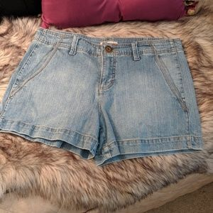 Light blue stretch denim shorts